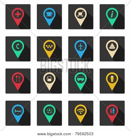 Set of flat place icons