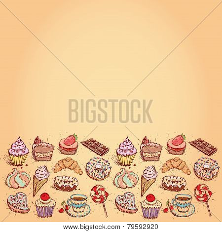 Card Hand drawn confectionery set croissant Cupcake candy marshmallow ice cream cake donut and coffe