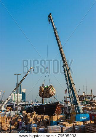 Dubai, Uae-november 13: Loading A Ship In Port Said On November 13, 2012 In Dubai, Uae.