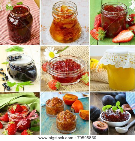 collage of different kinds of jam (strawberry, currants, raspberries, persimmons, plum)