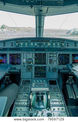 cockpit view of airplane interior