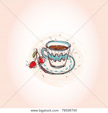 Cup of coffee and cherry Hand drawn sketch on pink background. vector