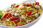 pic of cuttlefish  - white dish with spaghetti with cuttlefish and tomatoes - JPG