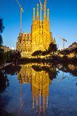 pic of gaudi barcelona  - The famous Sagrada Familia in Barcelona at dawn - JPG