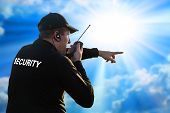 foto of bodyguard  - back of a security guard isolated on white - JPG