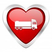 stock photo of tank truck  - truck valentine icon cargo sign  - JPG