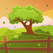 pic of bird fence  - Cartoon illustration of the tree on hill with wooden fence - JPG