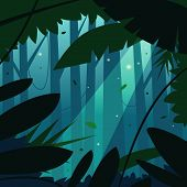 foto of rainforest  - Cartoon illustration of the tropical rainforest jungle - JPG