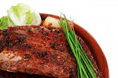 picture of stelles  - meat savory on wooden plate - JPG