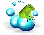 image of glass frog  - Green frog sitting on blue balls illustration - JPG