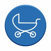 pic of buggy  - Round Button with symbol showing baby buggy - JPG