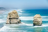 picture of 12 apostles  - Two of the Twelve Apostles along Great Ocean Road - JPG