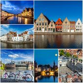 stock photo of storyboard  - Mosaic collage storyboard of Belgium tourist views travel images - JPG
