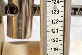 foto of measuring height  - old scale with the meter to measure the weight and height of patients - JPG
