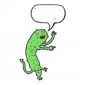 stock photo of gross  - cartoon gross little monster with speech bubble - JPG