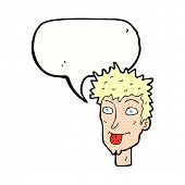 image of sticking out tongue  - cartoon man sticking out tongue with speech bubble - JPG