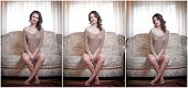picture of tight dress  - Young sensual woman sitting on sofa relaxing - JPG