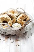 stock photo of sesame seed  - Homemade bagels with sesame - JPG