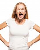stock photo of hysterics  - Screaming woman isolated on white bacjground - JPG