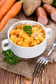 picture of stew  - Fresh made Carrot Stew with parsley on wooden background - JPG