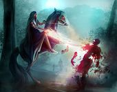 stock photo of sorcery  - Fantasy horseman in a hood fighting zombies in dark woods with sorcery and magic - JPG