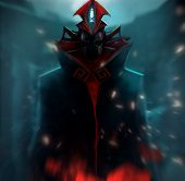 picture of dread head  - Masked monster with metal helmet standing in black mantle horror art illustration - JPG