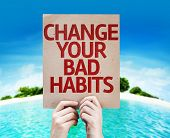 stock photo of  habits  - Change Your Bad Habits card with a beach on background - JPG