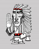 stock photo of indian chief  - Hand drawn vector illustration or drawing of an indian chief greeting - JPG
