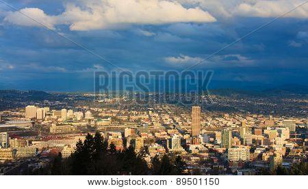 Sunset View Of Portland Oregon
