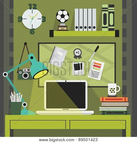 Flat modern and stylish green working place