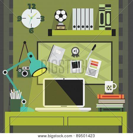 Flat modern and stylish green working place