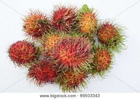 Rambutan Fruit Tropical Natural Red Hairy Concept