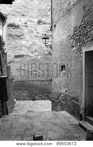 Old city view. Black and white photo