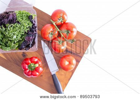 Preparing A Healthy Fresh Leafy Green Salad