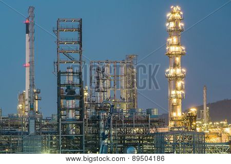 Oil Petrochemical Plant In Night Time