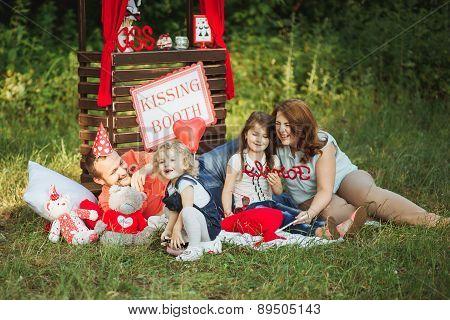 Happy family on nature photoshoot