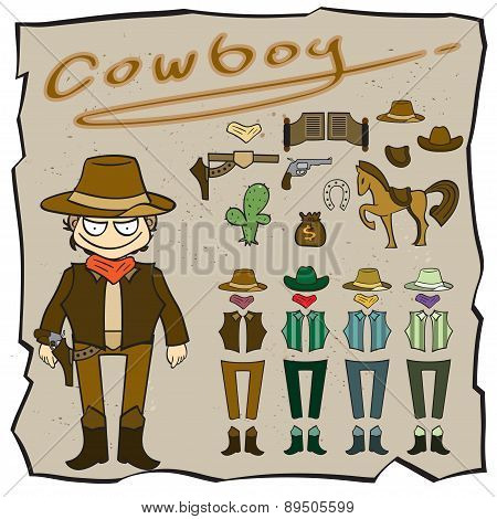 People Of Cowboy Cartoon,vector Illustration