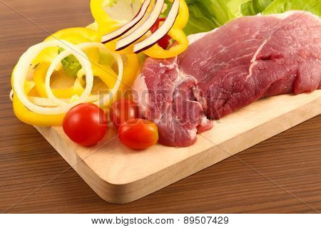 Raw Pork Meat  With Vegetable