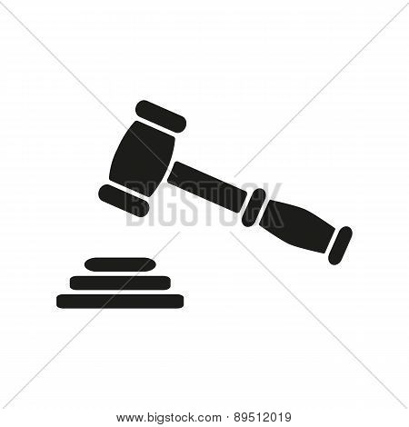 The Judge Or Auction Hammer Icon. Justice Symbol