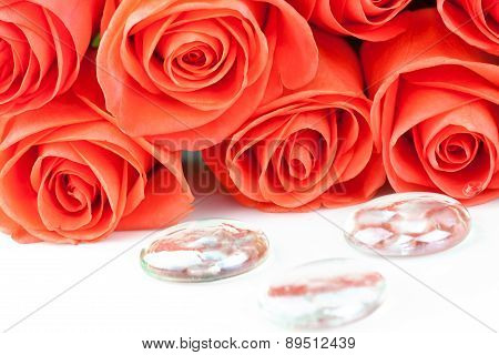 Bouquet Of Pink Roses With Drops