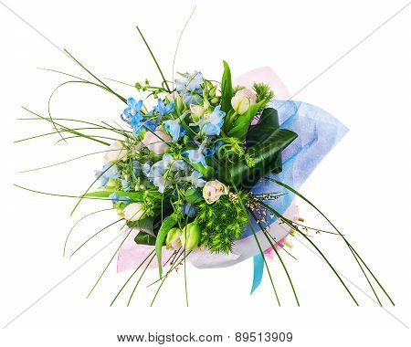 Flower Bouquet From Pink Roses, Iris And Other Flowers.