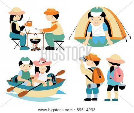 tourists travel (vector illustration set)
