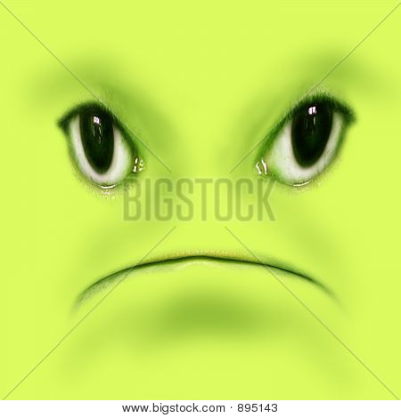 Green Unhappy Frog Face