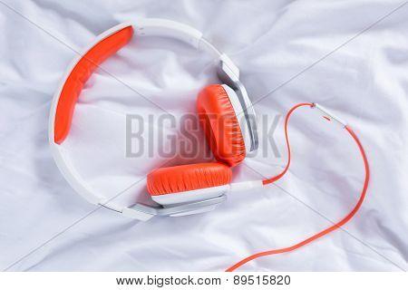 Orange headphones for music
