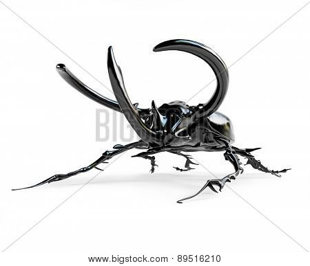 black rhinoceros beetle. 3D rendering
