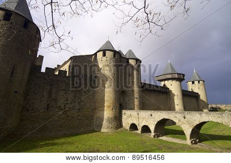 Medieval castle in Carcassonne, France.