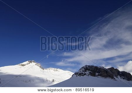 view of snowy mountains in Ossau Valley, France.