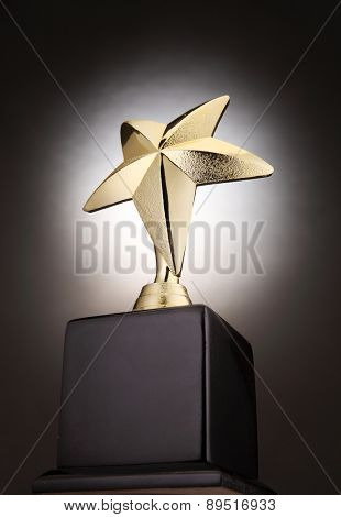 star shape trophy with a light glow