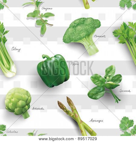 Seamless pattern with green vegetables. Vector illustration.