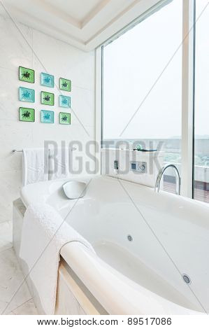 Hangzhou,China-April 22,2014:bath tub in bath room of Dragon hotel
